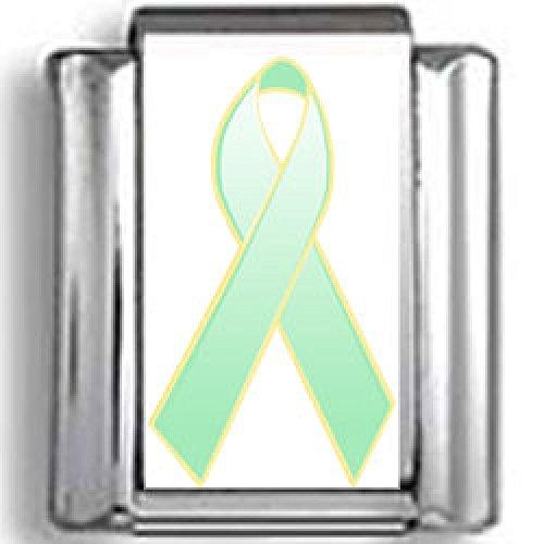Green Ribbon Italian Charm - Light Green Awareness Ribbon Photo Italian Charm