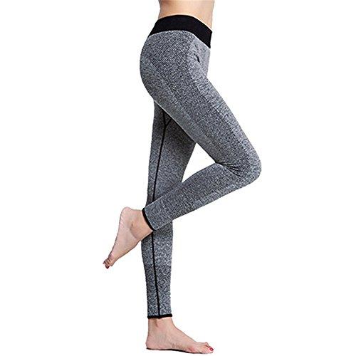 Tangbasi Pantalones Elásticos de Yoga Pantalones Polainas Deportivos para Mujeres Gris