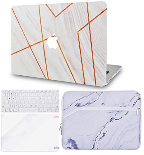 LuvCase 4in1 LaptopCase for MacBook Air 13 Inch(2020) A2179 Retina Display (Touch ID)HardShellCover, Sleeve, Keyboard Cover & Screen Protector (White Stone Marble Stripes)