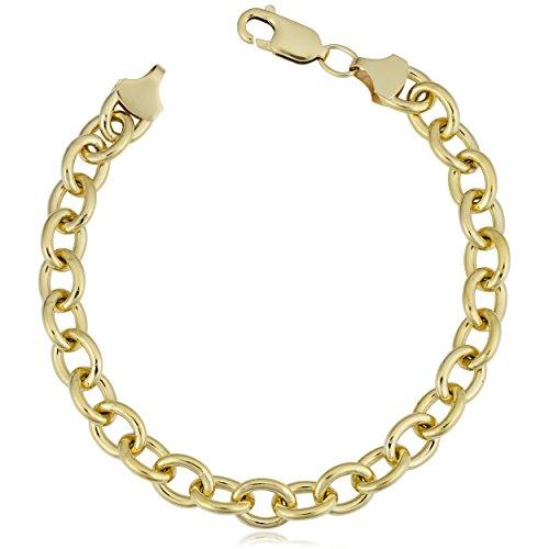 Kooljewelry 14k Yellow Gold Filled 7.5mm Unisex Bold Oval Link Chain Bracelet (8.5 inch) - Gold Oval Link Chain