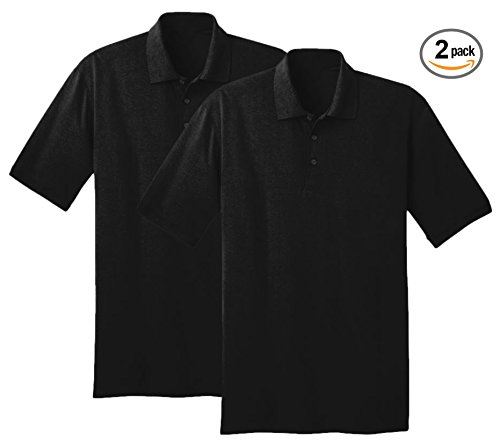 Sportoli174; Men's Cotton Blend Solid Everyday Uniform Short Sleeve Polo Shirt Top - Black, 2 Pack (2X-Large)