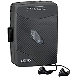 Jensen Portable Stereo Cassette Player with AM/FM Radio + Earbuds (Black Series)