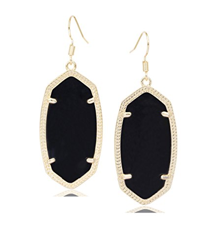 Drop Metal (Fashion Metal Oval Crystal Quartz Drop Dangle Earrings for Women (Gold(black)))