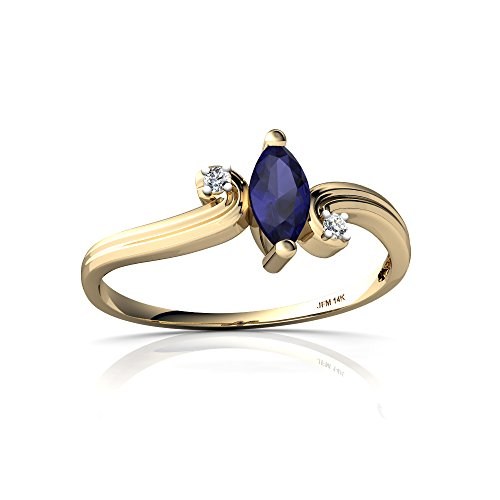 14kt Yellow Gold Sapphire and Diamond 6x3mm Marquise Ocean Waves Ring - Size 4.5