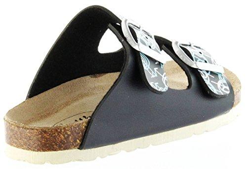 ConWay Bios Sandalen Hausschuhe Lederdeck Schwarz Leicht Non-Marking Sohle Kinder Mädchen Schuhe Tracy Black Schwarz