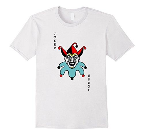 Mens Joker Playing Card Costume Shirt - Old Joker Large White