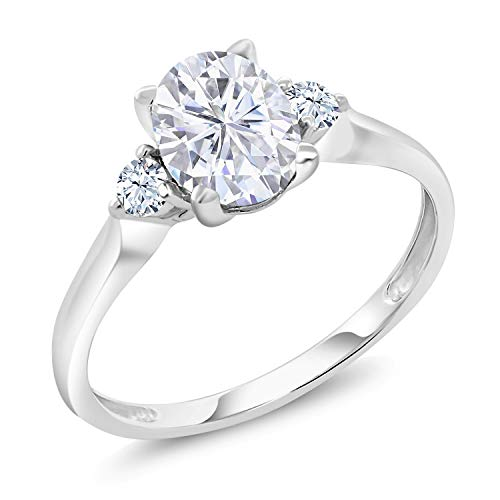 10K White Gold Solitaire w- Accent Stones Ring Forever Brilliant (GHI) Oval 1.50ct (DEW) Created Moissanite by Charles & Colvard and Created Sapphire (Size 7)