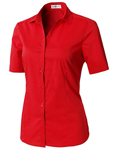 CLOVERY Women's Wrinkle-Free Short-Sleeve Slim Fit Button Down Shirt with Plus Size Red 2XL