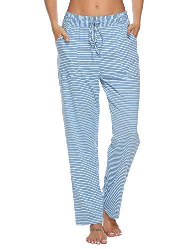 Pyjama Pantalon À Carreaux Aibou Femme 100 style Lounge Bleu 1 Coton Nuit De Vêtements pnqFzt0Hq