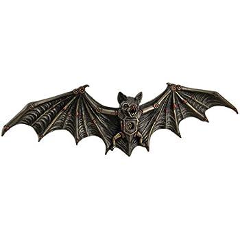 Resin Wall Sculptures Mechanical Steampunk Vampire Bat Bronze Finish Wall Sculpture 13.5 X 4.25 X 1.5 Inches Bronze