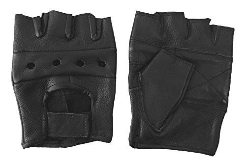 Black Leather Fingerless Gloves XXL