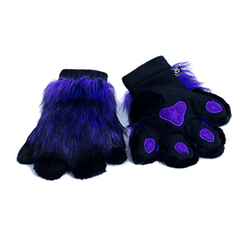 Realistic Animal Furry (Pawstar Paw Mitts Realistic Furry Animal Hand Paws Costume Gloves Adults - Purple)