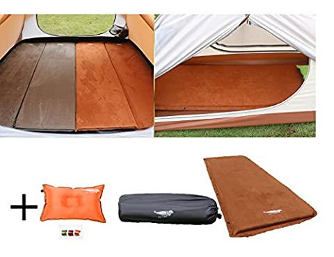 Luxe Tempo 2 inch Camping Mattress Self Inflating Sleeping Pad with FREE PILLOW Tent Sleeping Mat Wide Non Slip Cozy Suede with Great - 2 Free Mattresses