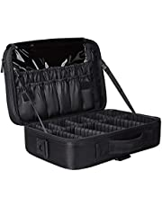 Travel Makeup Train Case Makeup Cosmetic Case Organizer Portable Artist Storage Bag 10.3'' with Adjustable Dividers for Cosmetics Makeup Brushes Toiletry