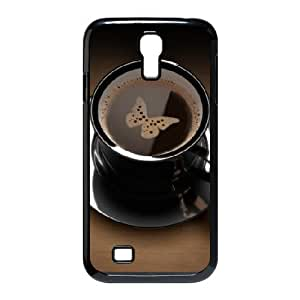 Coffee Butterfly Black Cup Samsung Galaxy S4 Cases, Cute Phone Case for Samsung Galaxy S4 I9500 Jackalondon {Black}