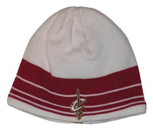 Reebok Cleveland Cavaliers NBA White & Red Stripes Knit Beanie (Nba Reversible Fleece)