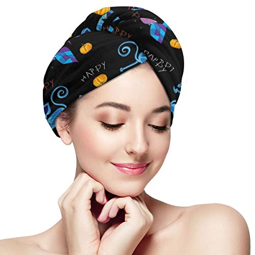 Happy Halloween Kids Microfiber Absorbent Dry Hair Cap Twirl Towel Hair Towel Wrap Turban Fast Head Towel with Buttons for Girl Quick Dry Magic Hats ()