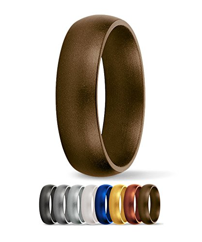 SafeRingz Silicone Wedding Ring, 6mm, Made in the USA, Men or Women, Antique 9