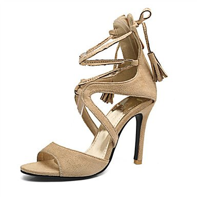 LvYuan Tacón Stiletto-Confort Innovador Zapatos del club-Sandalias-Exterior Vestido Informal-Vellón Materiales Personalizados-Negro Rojo Almendra Black