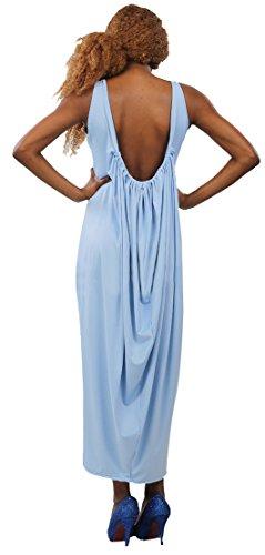 Loose Maxi Blansdi Casual Sleeveless Neck Backless Scoop Dress Blue Clubwear Women Y7Y6xOF