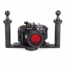 EACHSHOT 40m/130ft Underwater Diving Camera Housing for Canon G9X + 67mm Red Filter + Two Hands Aluminium Tray