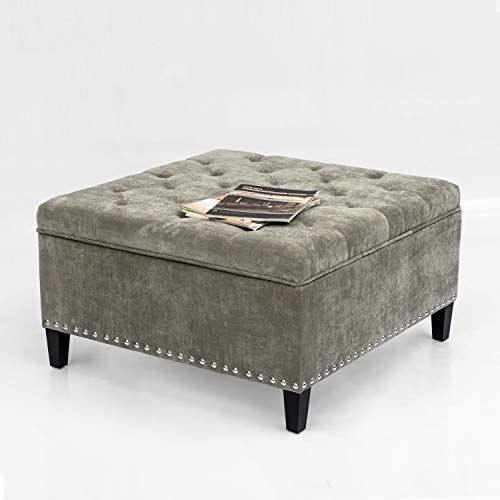 Furnistar Square-Shaped Storage Ottoman Bench Tufted Footrest Lift Top (Light Gray) from Furnistar