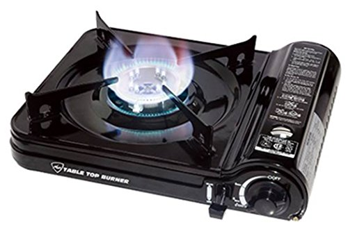 Max Burton 8253 Table Top Gas Burner (Black), 7650 BTU, Piezoelectric Ignition, Heavy Gauge Metal Body and Porcelain Enamel Coated Steel Drip Pan, Includes a Hard-Sided Plastic Carrying Case For Sale