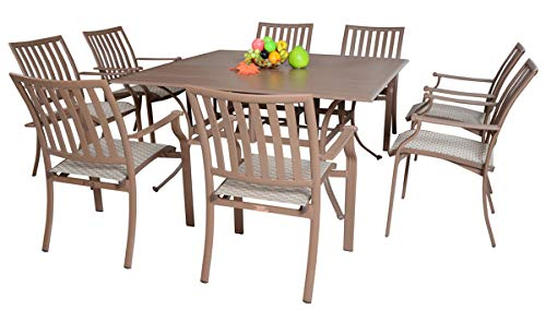 - Panama Jack Outdoor Island Breeze 9-Piece Slatted Dining Group Set, Includes 8 Armchairs and 60-Inch Aluminum Slatted Table