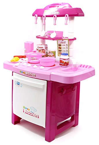 Little Treasures Mini Pink Kitchen Play Set with Oven Stovetop Equipped with Pots Pans and Cooking Utensils for Children Playtime Fun (Playtime Kitchen)