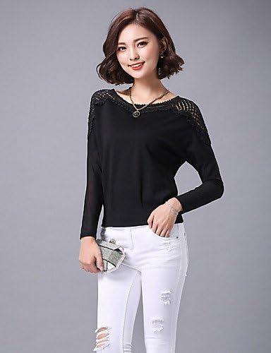 Mujer Camisa Blusa elegante mujer Blusa Mujer Camiseta de mujer Blusa – Punta/bordado/rejilla algodón/poliéster manga larga cuello redondo, color negro, tamaño medium: Amazon.es: Deportes y aire libre