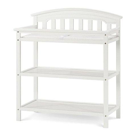 Child Craft Wadsworth Changing Table Features 2 Spacious Shelves and Includes Changing Pad with Safety Strap in Matte White