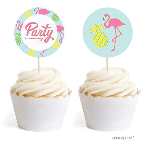 Andaz-Press-Birthday-DIY-Cupcake-Toppers-Party-Favors-Kit-Pink-Flamingo-and-Pineapple-Party-20-Pack