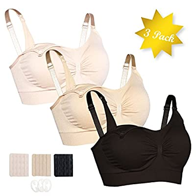 Jovannie 3PACK Nursing Bra Seamless Maternity Underwear S-XL with Extra Extenders Clips
