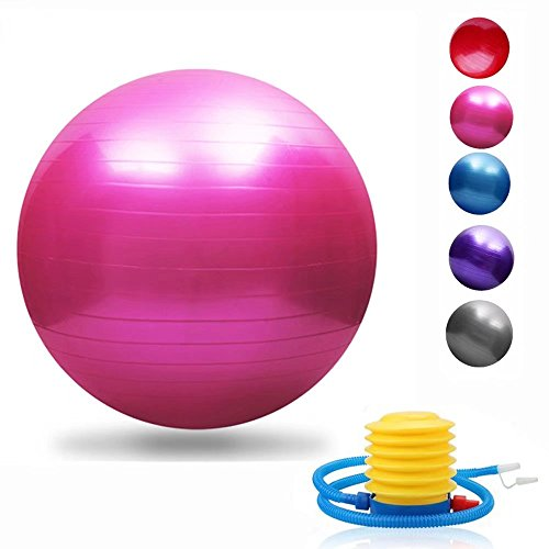 Yoga Exercise Ball 45/55/65/75/85/95cm with Quick Foot Pump Professional Grade Anti Burst & Slip Resistant Balance Ball for Workout& Fitness (5 Colors Optional)