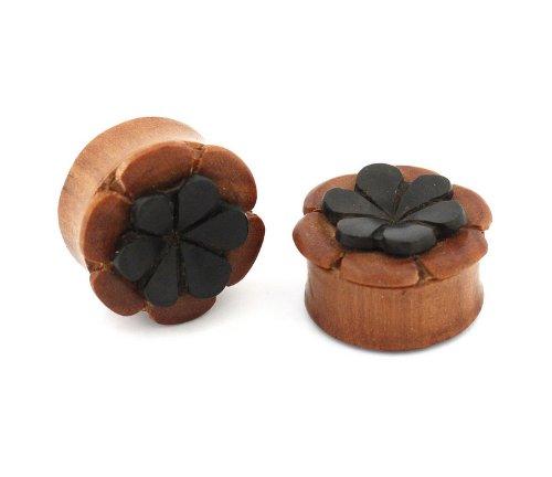 00 G 10 mm isla negro flores Sawo madera doble Dilatador de Oreja Tapones de medidores