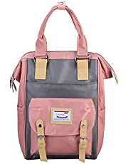 Korean Waterproof Canvas School & Travel Backpack - Pink