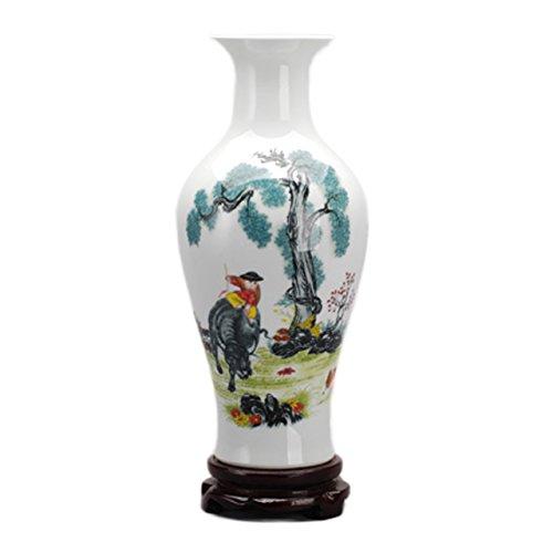Dahlia Chinese Famille Rose Porcelain Farm Boy Riding Bull Flower Vase, 15 Inches, Fish Tail Vase by Dahlia (Image #1)