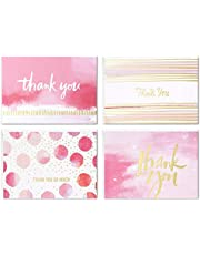 Hallmark Thank You Cards Assortment, Pink and Gold Watercolor (40 Thank You Notes with Envelopes for Wedding, Bridal Shower, Baby Shower, Business, Graduation) (5STZ1053)