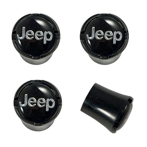 Jeep All Black Tire Air Valve Stem Caps with Jeep Brand Name Letters Script Logo Emblem in Chrome; 4pc Set