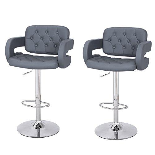 ELEGAN Home Kitchen Bar Living Room Hydraulic Adjustable Button Tufted Back Leather Upholstered U Shape Armrest Bar Stools, Grey, Set of 2