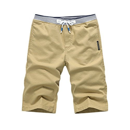 K&S Young Men's Casual Style Cotton Slim-Fit Straight Short Beach Shorts (L, Khaki)