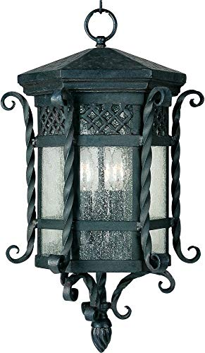 (Maxim 30128CDCF Scottsdale 3-Light Outdoor Hanging Lantern, Country Forge Finish, Seedy Glass, CA Incandescent Incandescent Bulb , 40W Max., Dry Safety Rating, Fabric Shade Material, Rated Lumens)