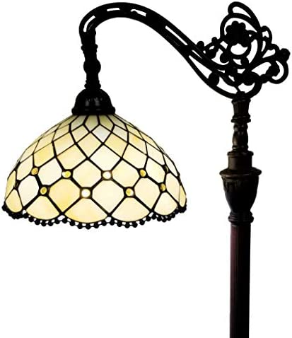 Amora Lighting Tiffany Style Floor Lamp Jeweled Beaded Arched 62 Tall Stained Glass Yellow Antique Vintage Light Decor Bedroom Living Room Reading Gift AM121FL12B, 12 Inch Diameter, White