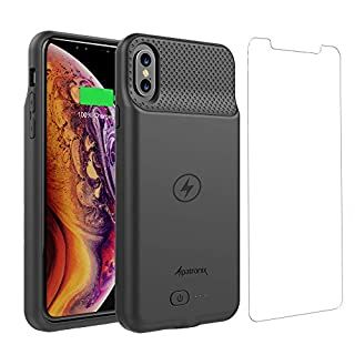 iPhone XR Battery Case, Ultra Slim Portable Protective Extended Charger Cover with Wireless Charging Compatible with iPhone XR (6.1 inch) - (Black)