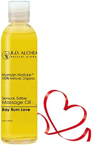 100% Natural & Organic Edible Massage Oil for Body. Best Massage Supply with Organic Essential Oils. Erotic Flavor: Bay Rum Love - Orange, Clove, and Nutmeg Oils