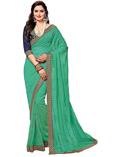 (Nivah Fashion Women's Rangoli Georgette Embroidery work sari With Blouse piece K809 (Turquoise))