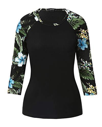 Mixfeer Women's Raglan Shirt Floral Print 3/4 Sleeve Casual Blouses Shirts Baseball Tshirts Top Green