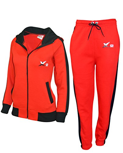 X-2 Women Athletic Full Zip Fleece Tracksuit Jogging Sweatsuit Activewear Hooded Top Red M
