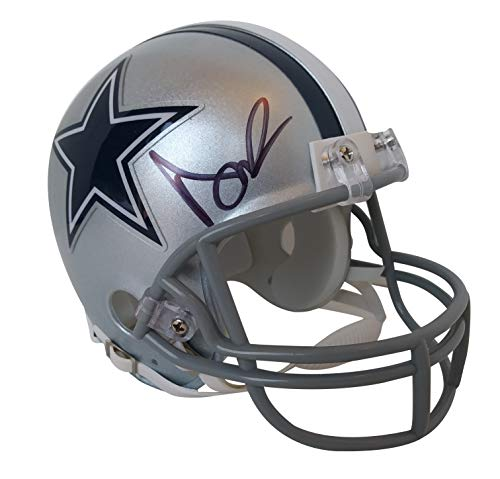 Dallas Cowboys Dak Prescott Signed Hand Autographed Riddell Mini Football Helmet with Proof Photo of Signing and COA