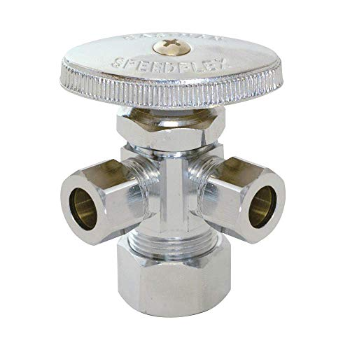 Eastman 04353LF compression inlet multi turn dual outlet stop valve, 3/8